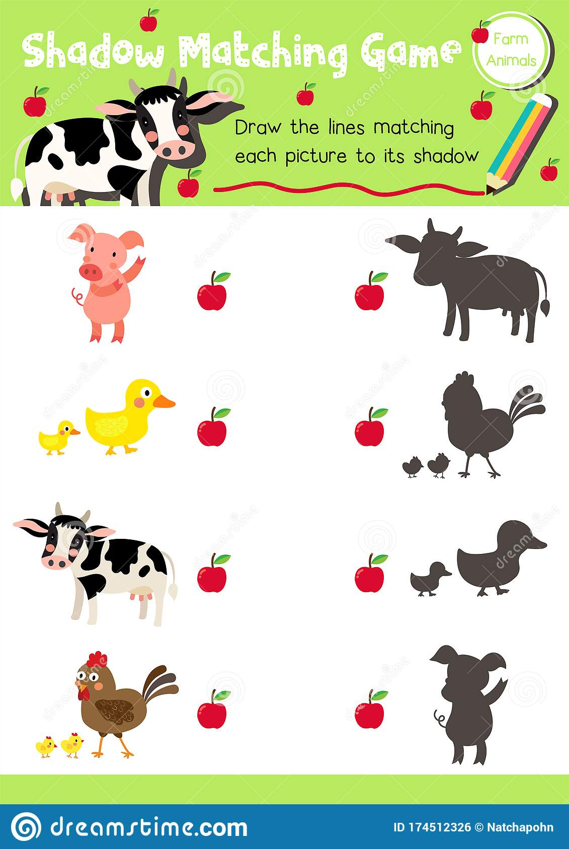 Shadow Matching Game Farm Animal Stock Vector