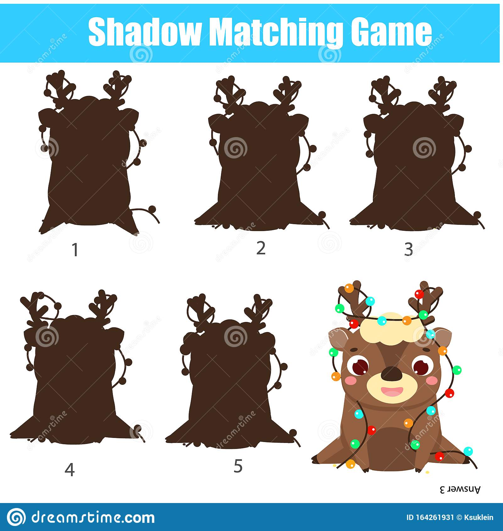Shadow Matching Game Kids Activity With Christams Deer