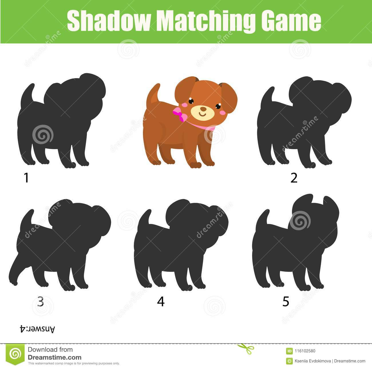 Shadow Matching Game Kids Activity With Cute Puppy Dog