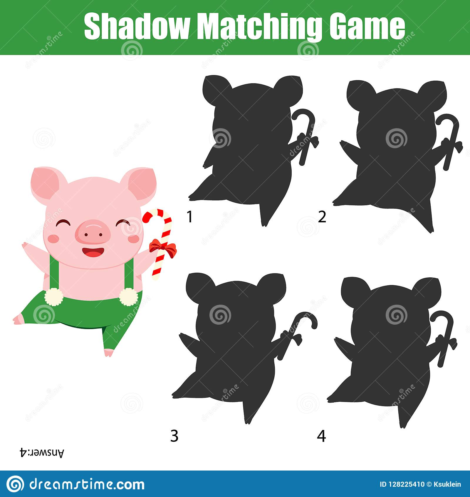 Shadow Matching Game Kids Activity With Funny Pig Holding