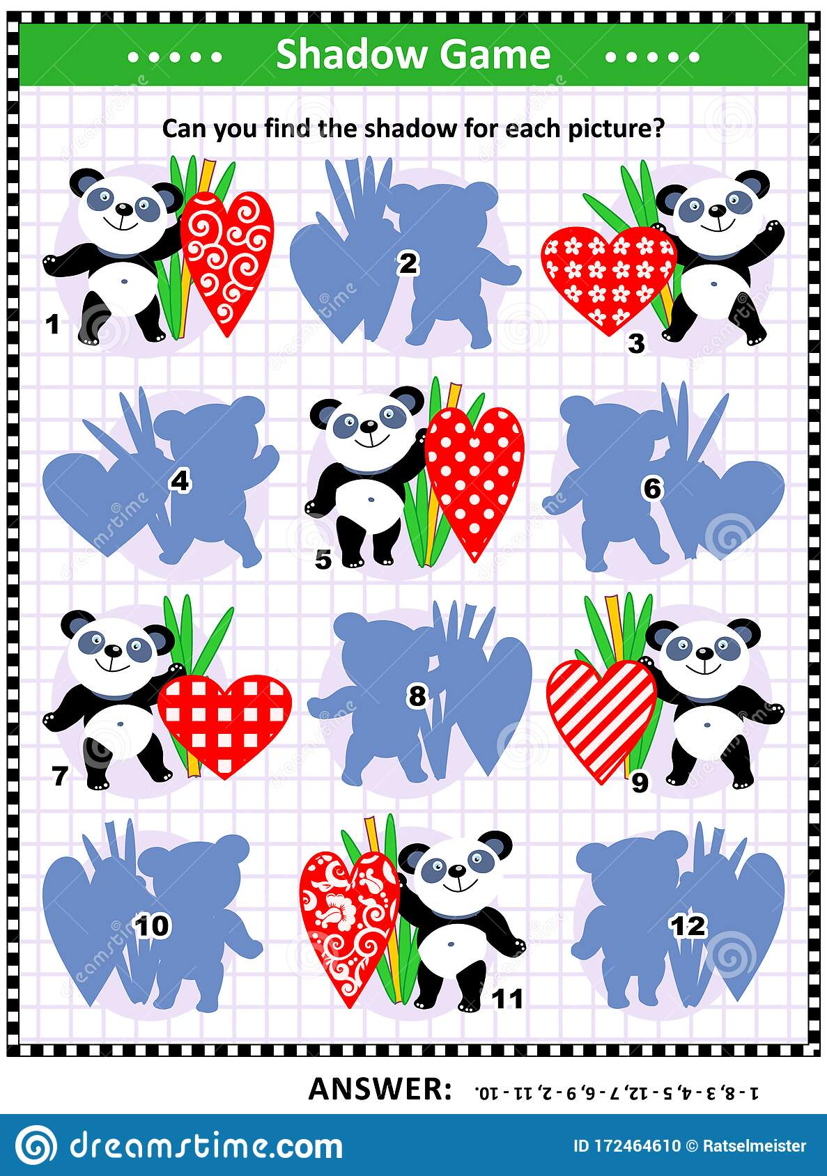 Shadow Matching Game With Panda Bears And Decorative