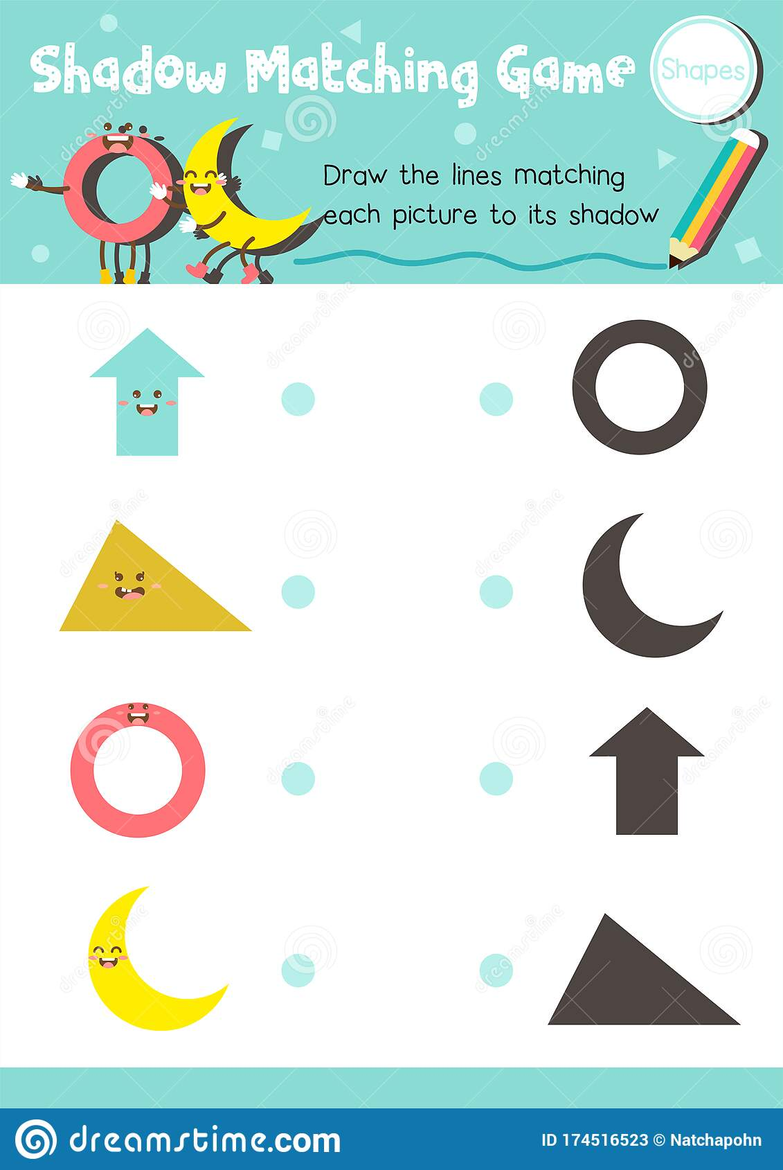 Shadow Matching Education Game Shape Stock Vector
