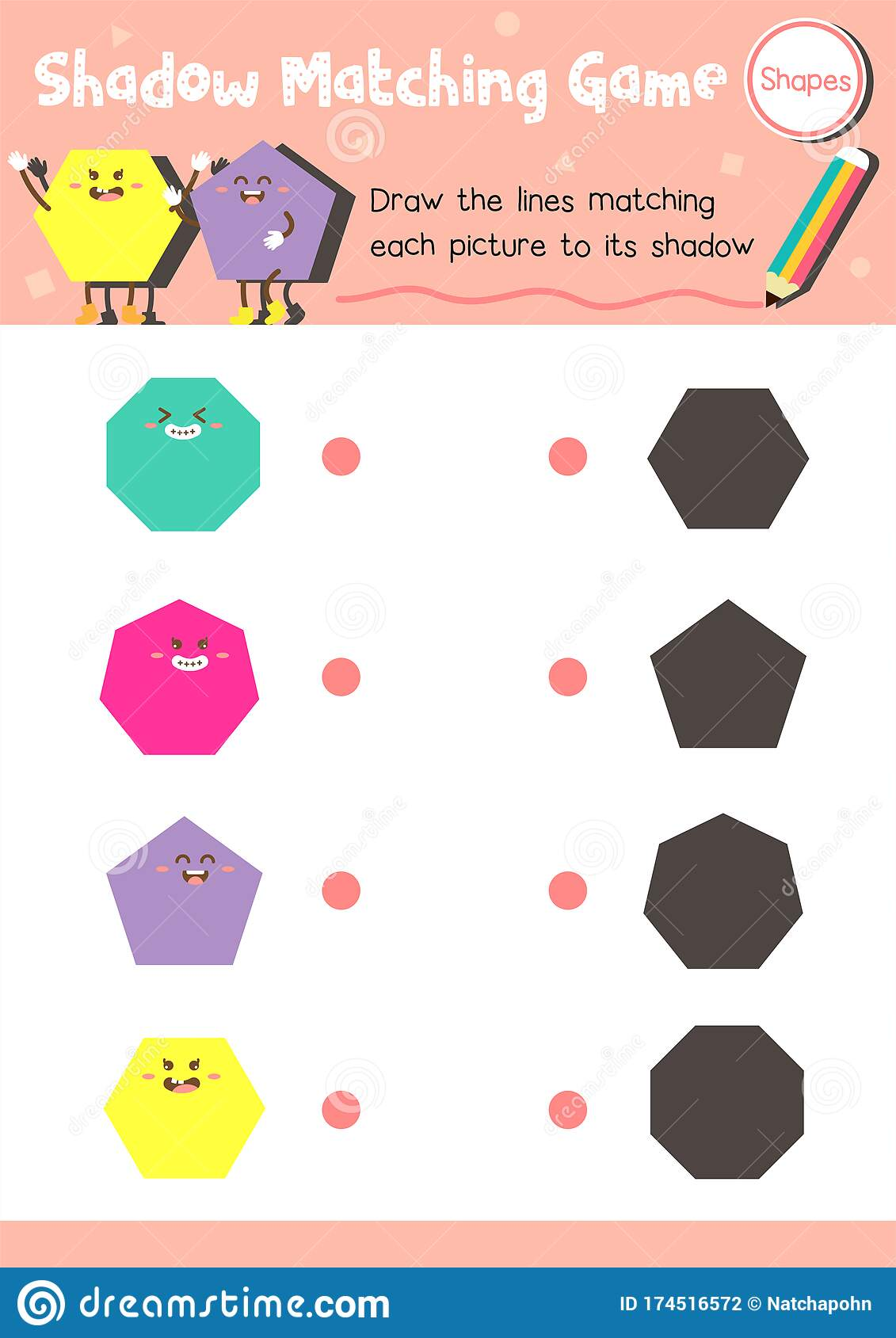 Shadow Matching Game Shape 2 Stock Vector
