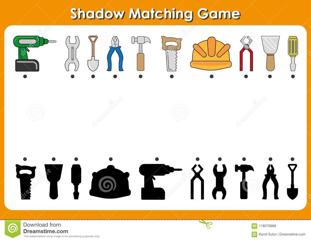 Shadow Matching Game Tools To Repair Activity Page For