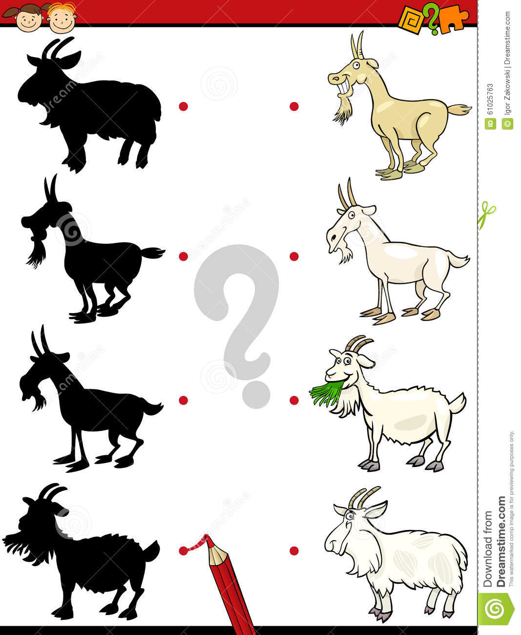 Shadows Task With Goat Stock Vector