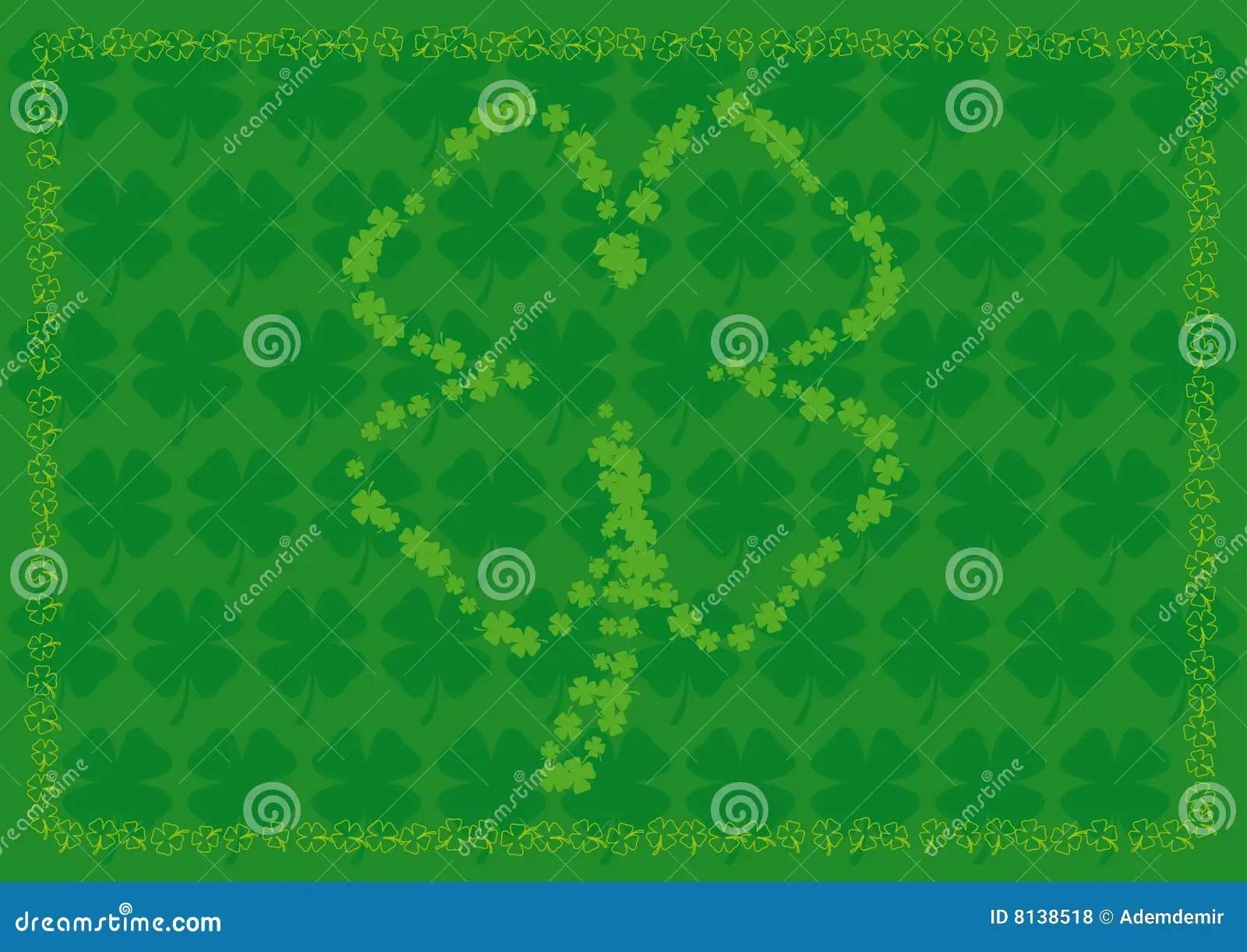 Shamrock Background With Four Leaf Shamrock Shapes Stock