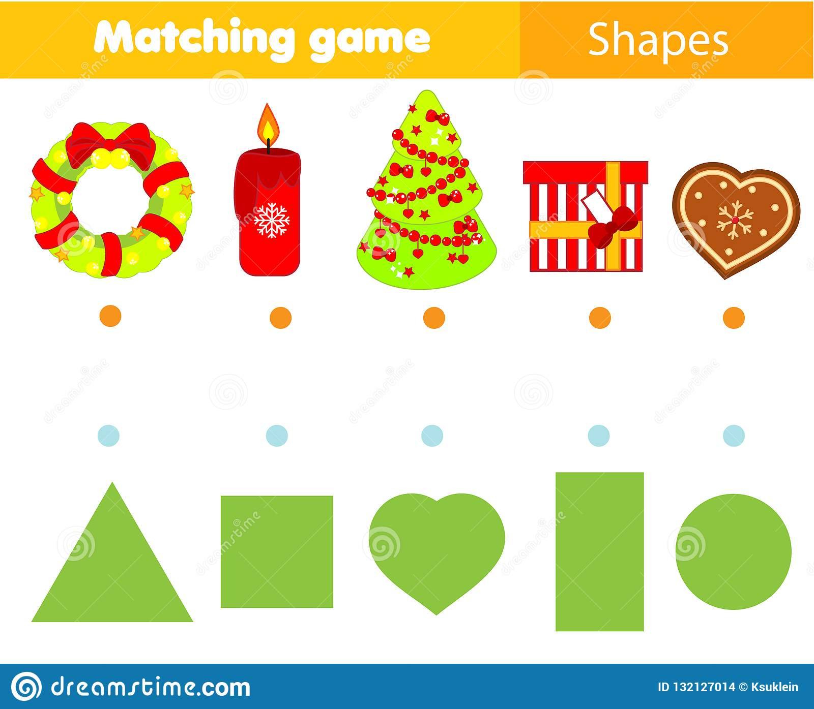 Shape Matching Game Kids Activity With Christmas Objects