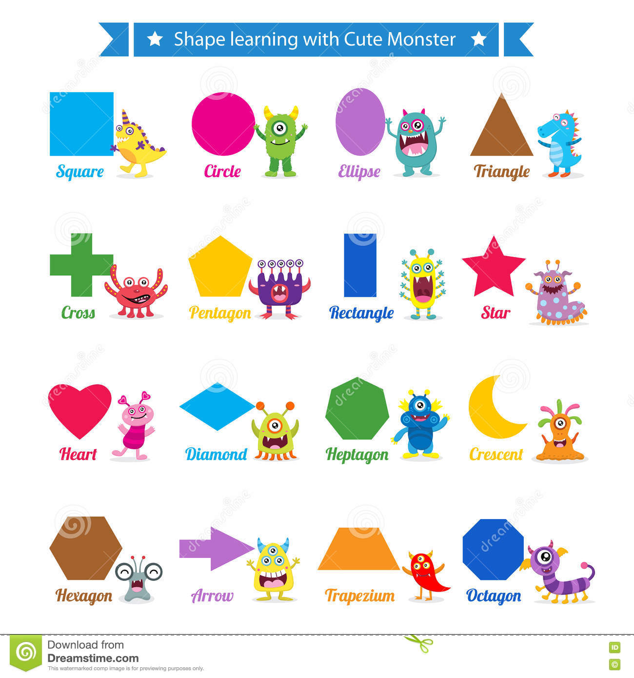 Shapes Learning With Cute Monster Stock Vector