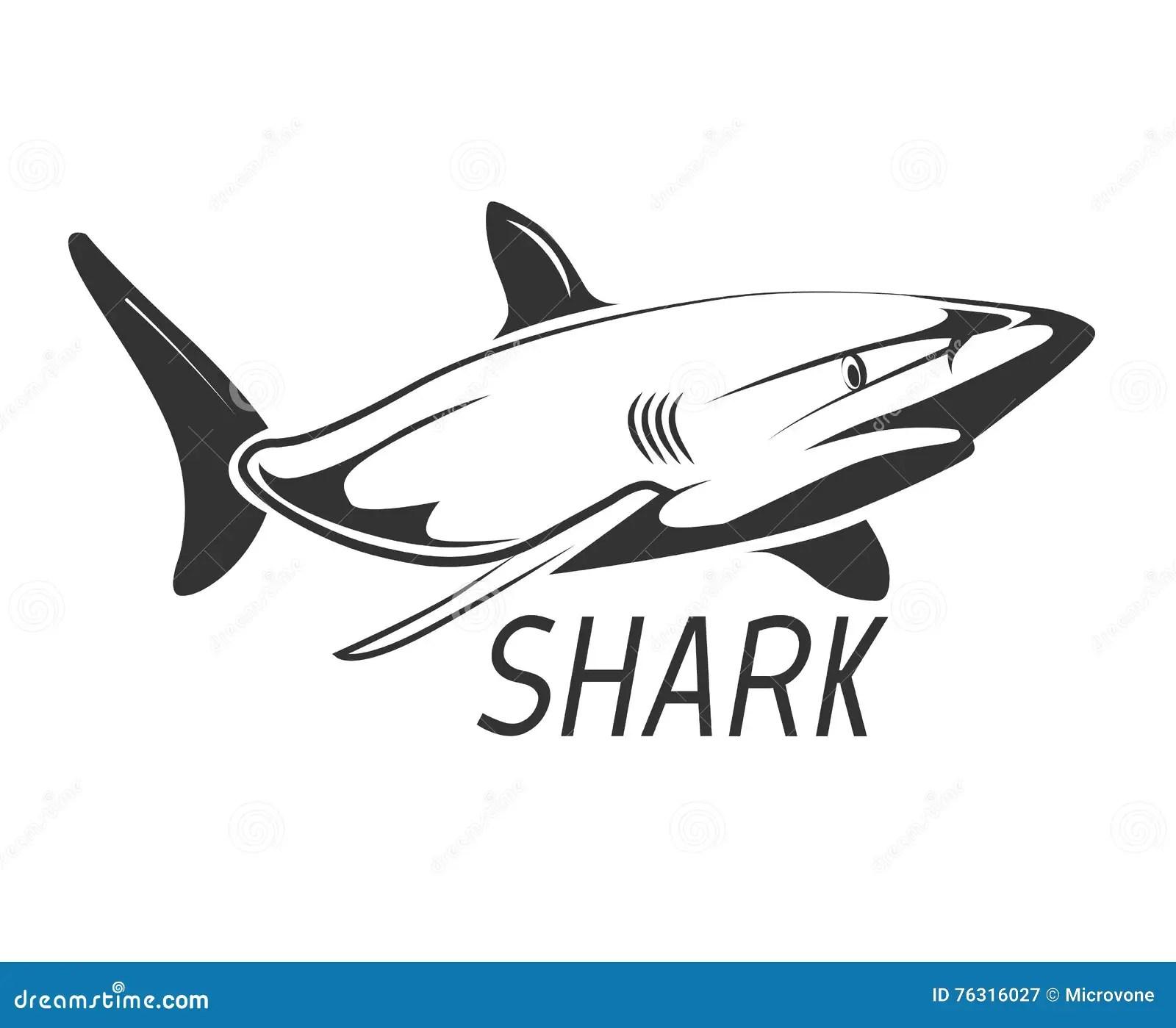 Shark Logo In Black Isolated On White Stock Vector
