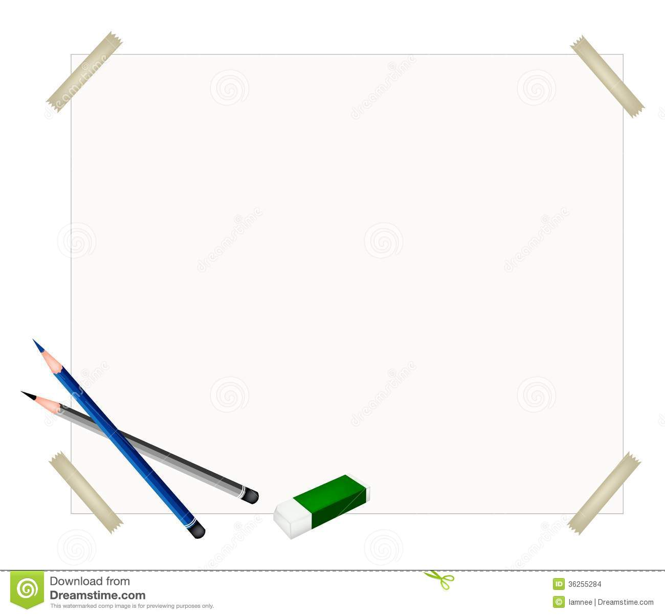 Sharpened Pencils And Eraser On Blank Paper Stock Images