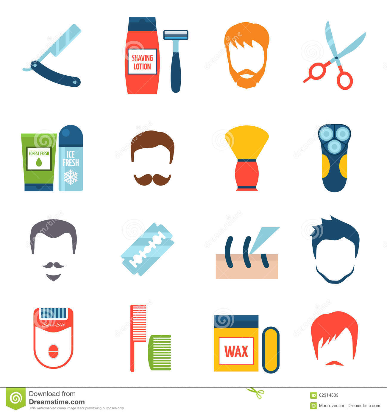 Shaving Icons Set Stock Vector Illustration Of Care