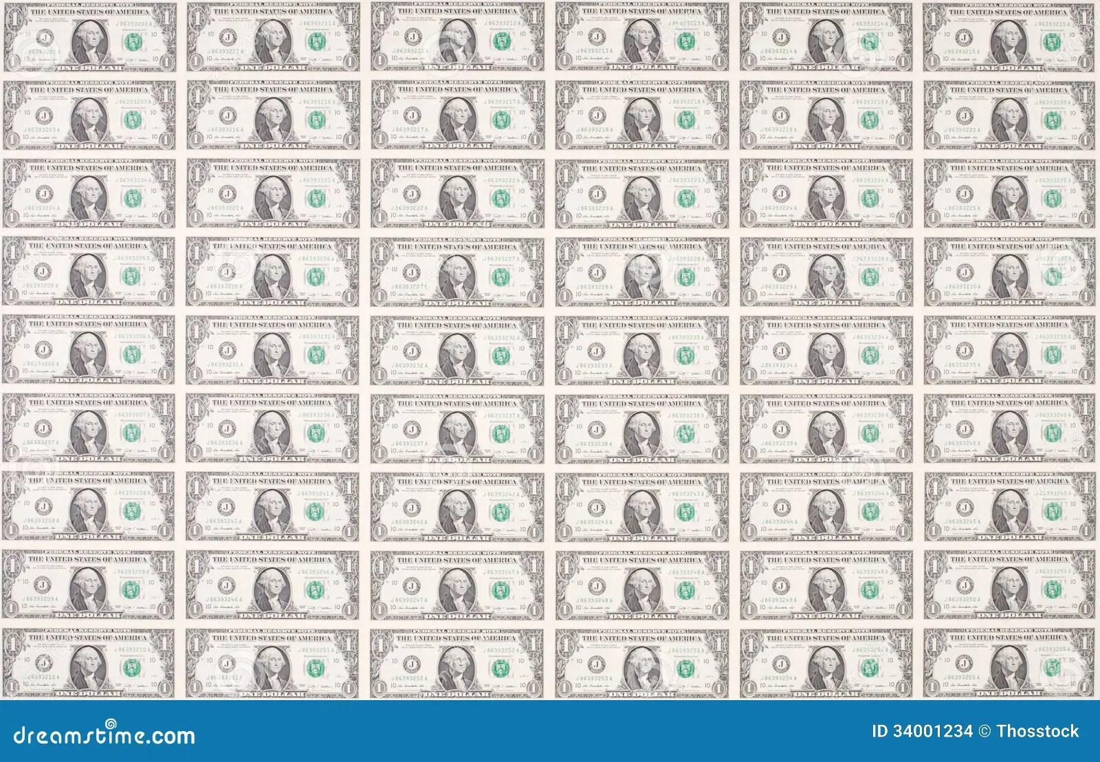 Sheet Of One Dollar Bills As Wallpaper Stock Photo
