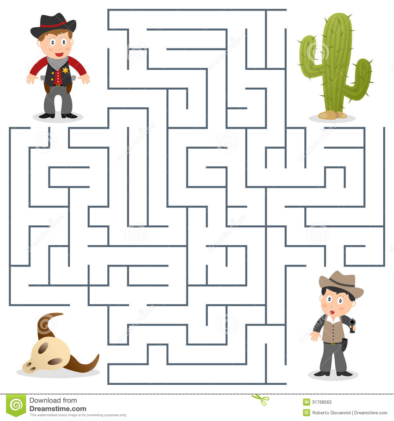 Sheriff Amp Wanted Maze For Kids Stock Vector