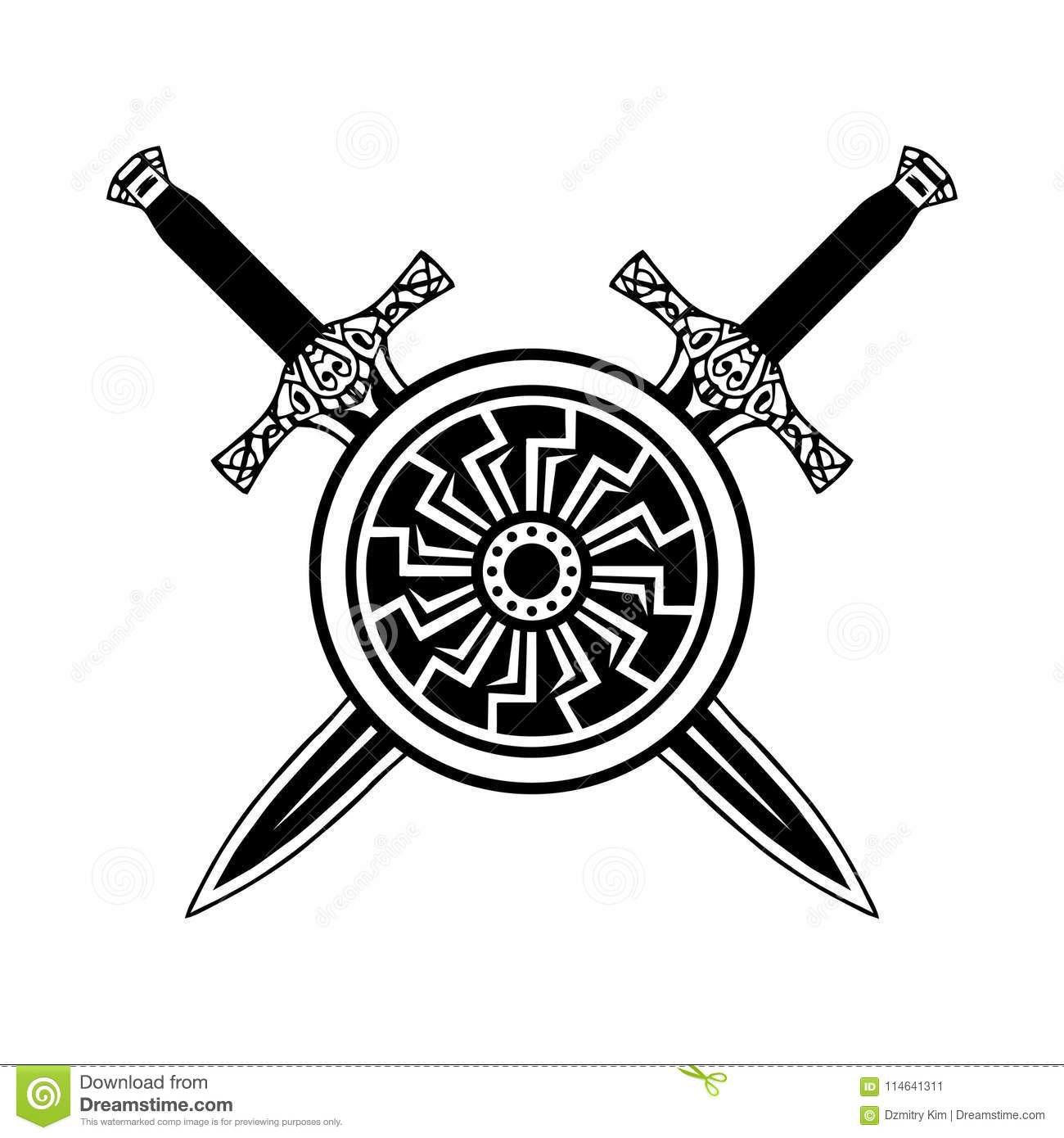 Shield And Sword Black White Icon Stock Vector