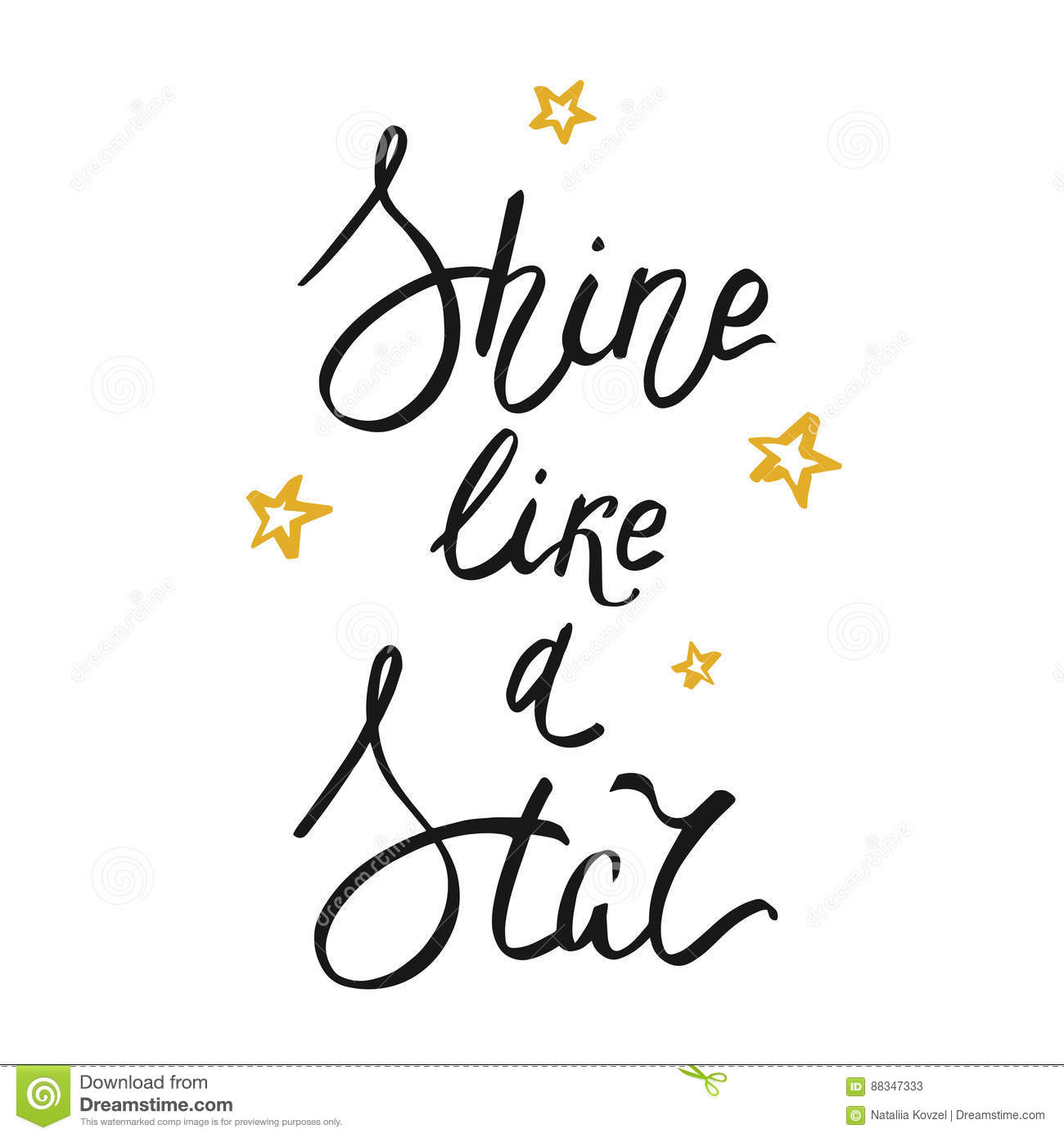 Shine Like A Star Lettering On White Background Vector