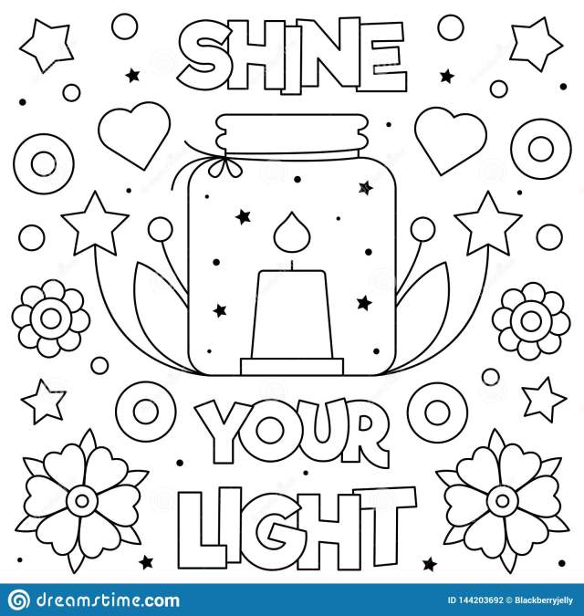 Shine Your Light. Coloring Page. Vector Illustration. Candle
