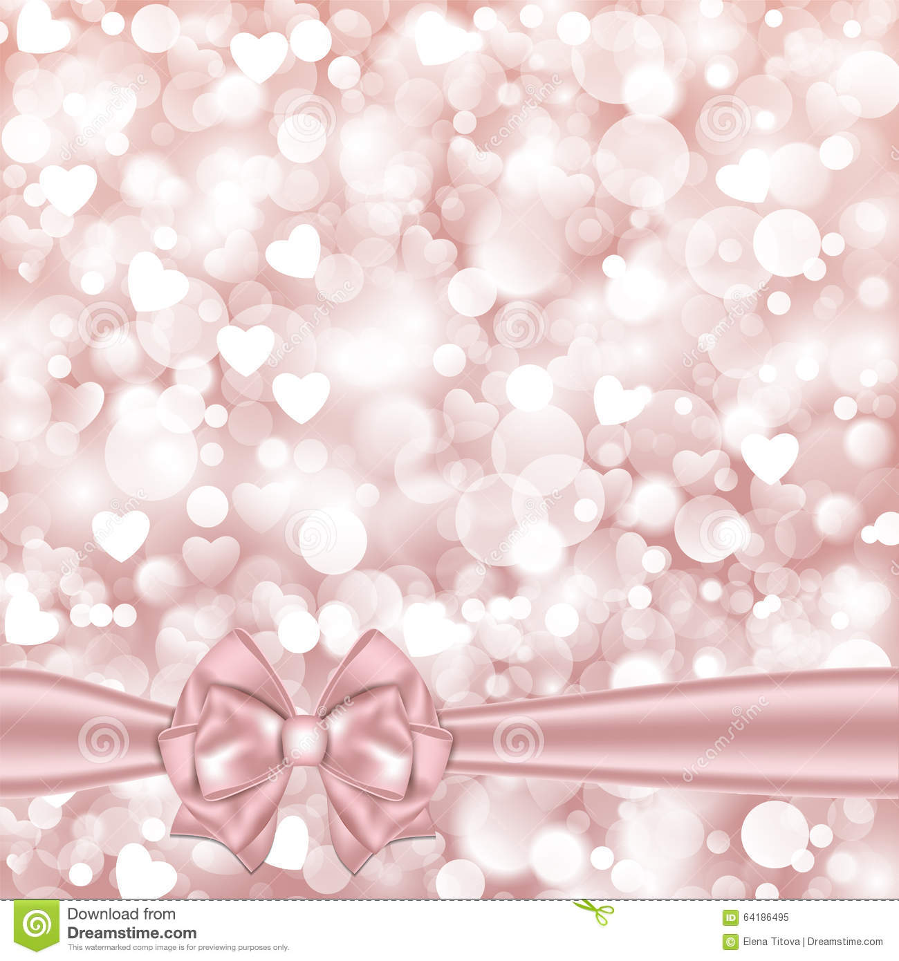 Shiny Pink Background With Bow Stock Vector Illustration