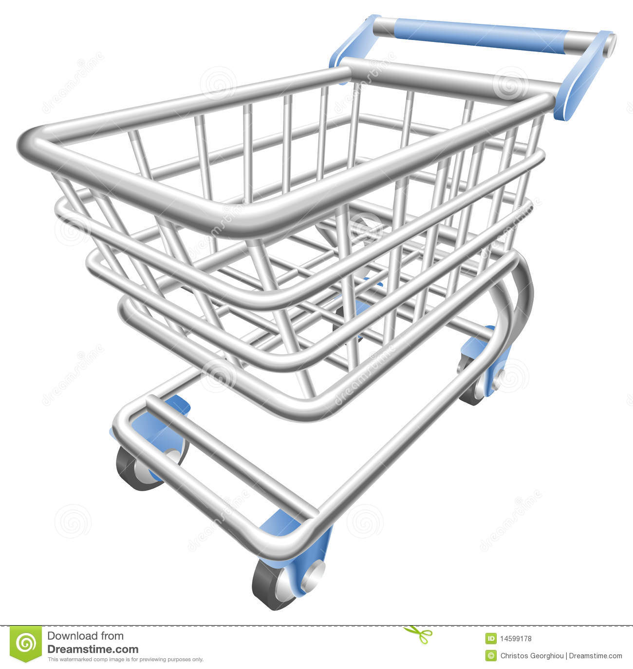 A Shiny Shopping Cart Trolley Illustration Stock Vector