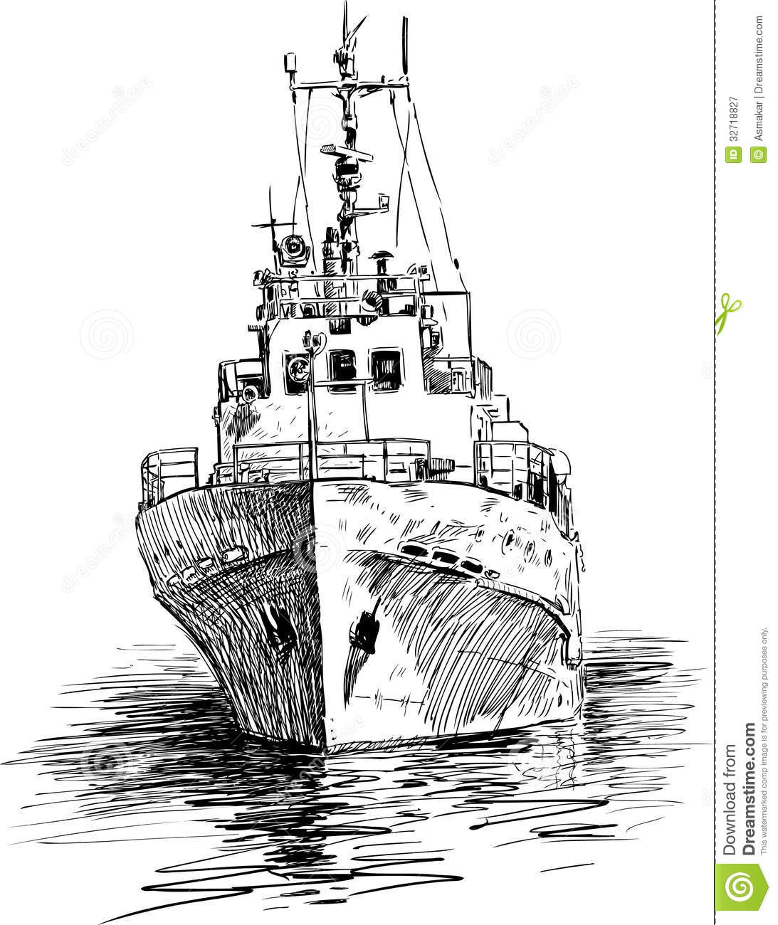 Ship At Berth Stock Vector Illustration Of Berth Tugboat