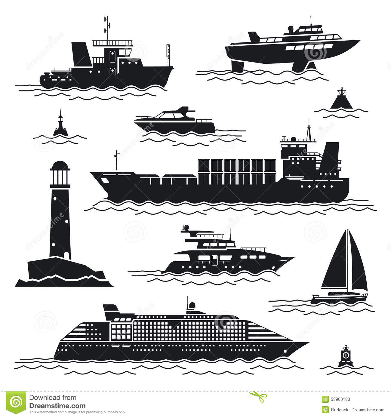 Ship And Boat Icons Stock Vector