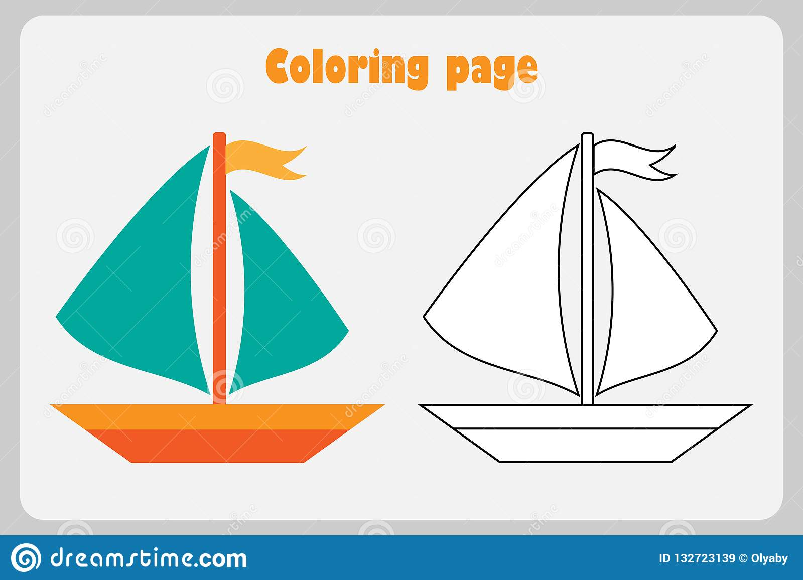 Ship In Cartoon Style Coloring Page Education Paper Game