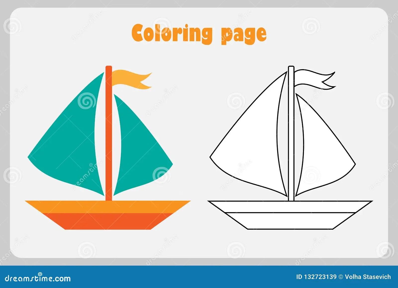 Coloring Boat Worksheet