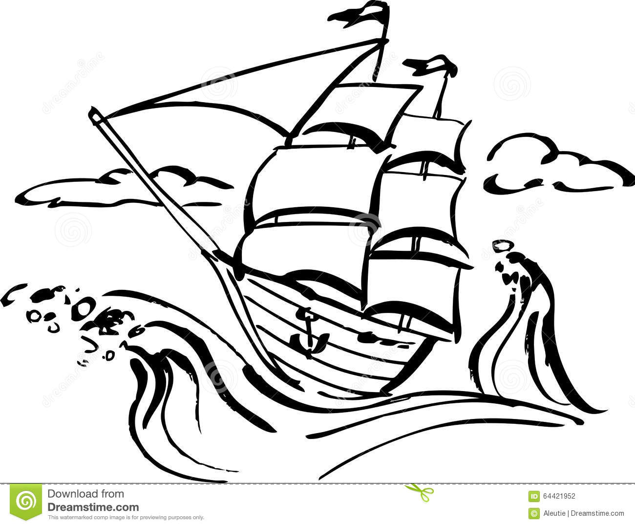 Ship Clip Art Stock Vector Illustration Of Romantic