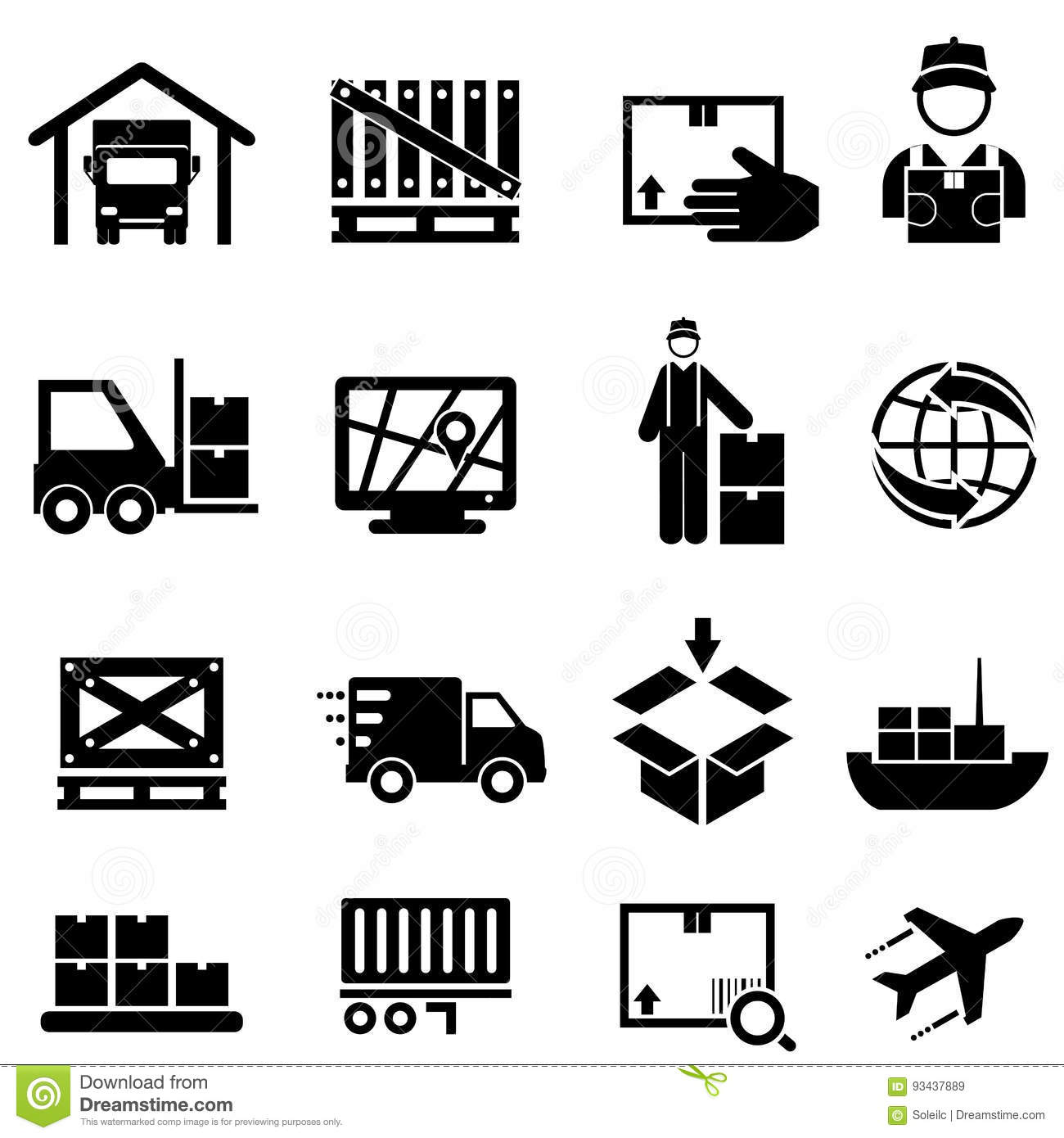 Shipping Cargo Delivery And Warehouse Web Icons Stock