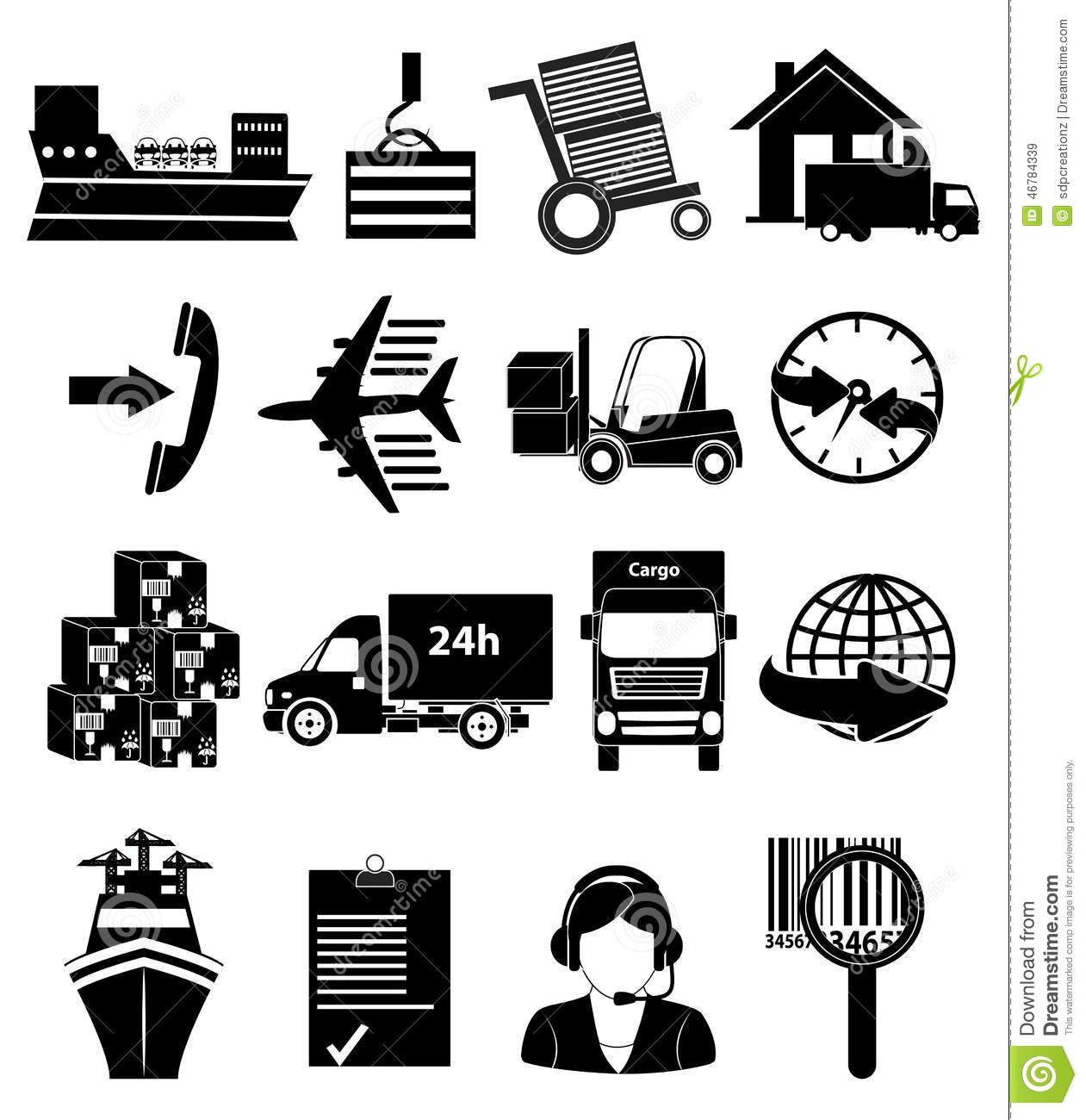 Shipping Packaging And Delivery Icons Set Stock Vector