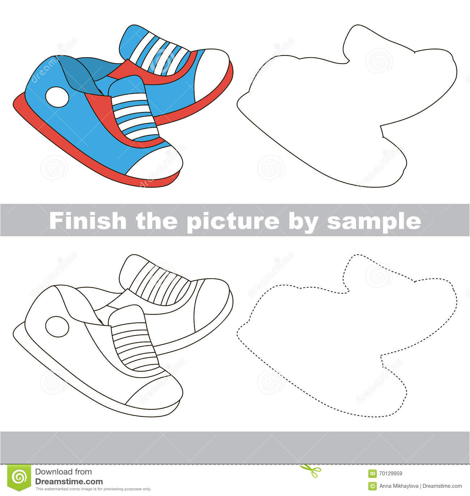 Shoe Drawing Worksheet Stock Illustration Illustration