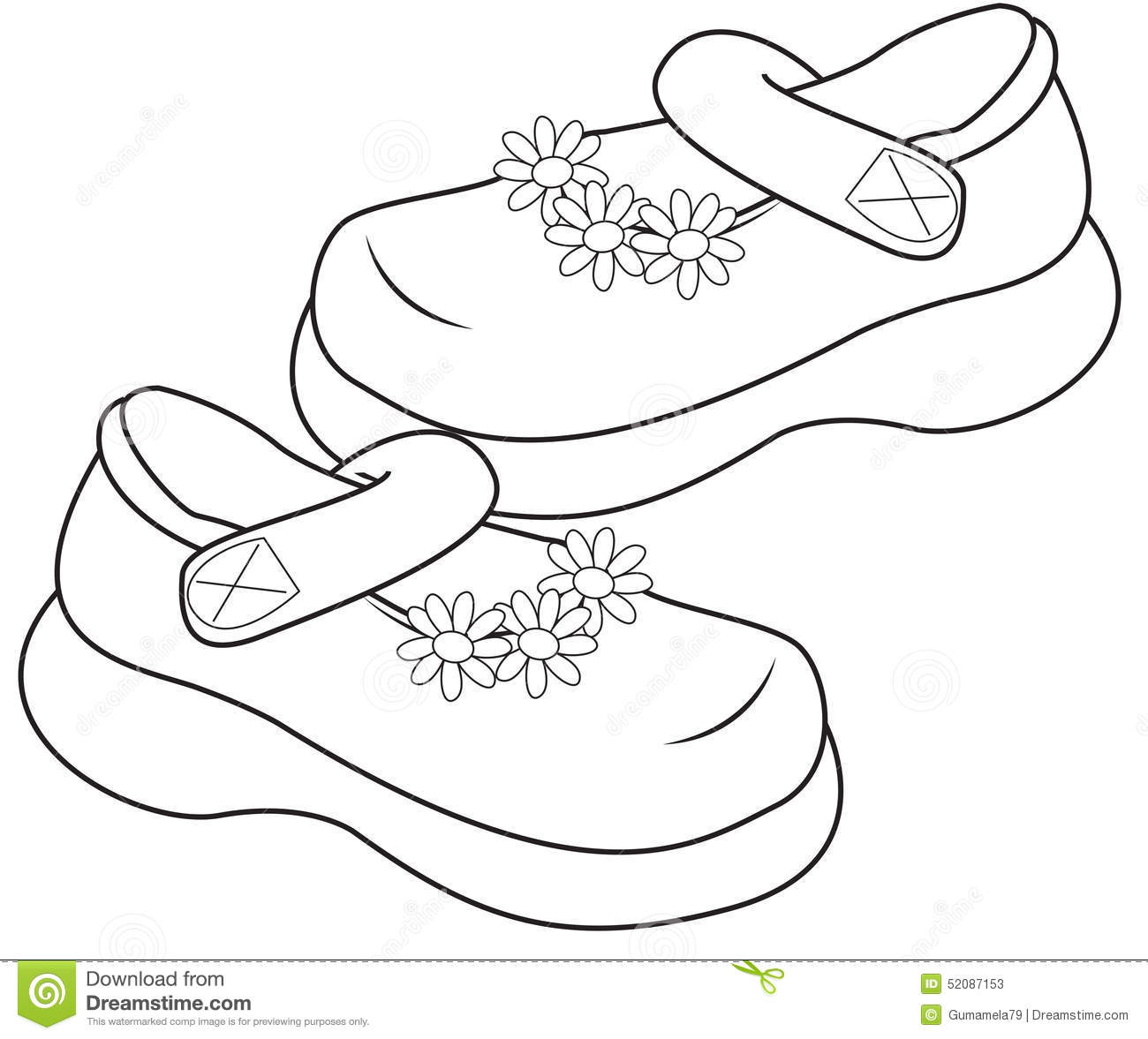 Stock Photos Shoes For Girls Coloring Page Image