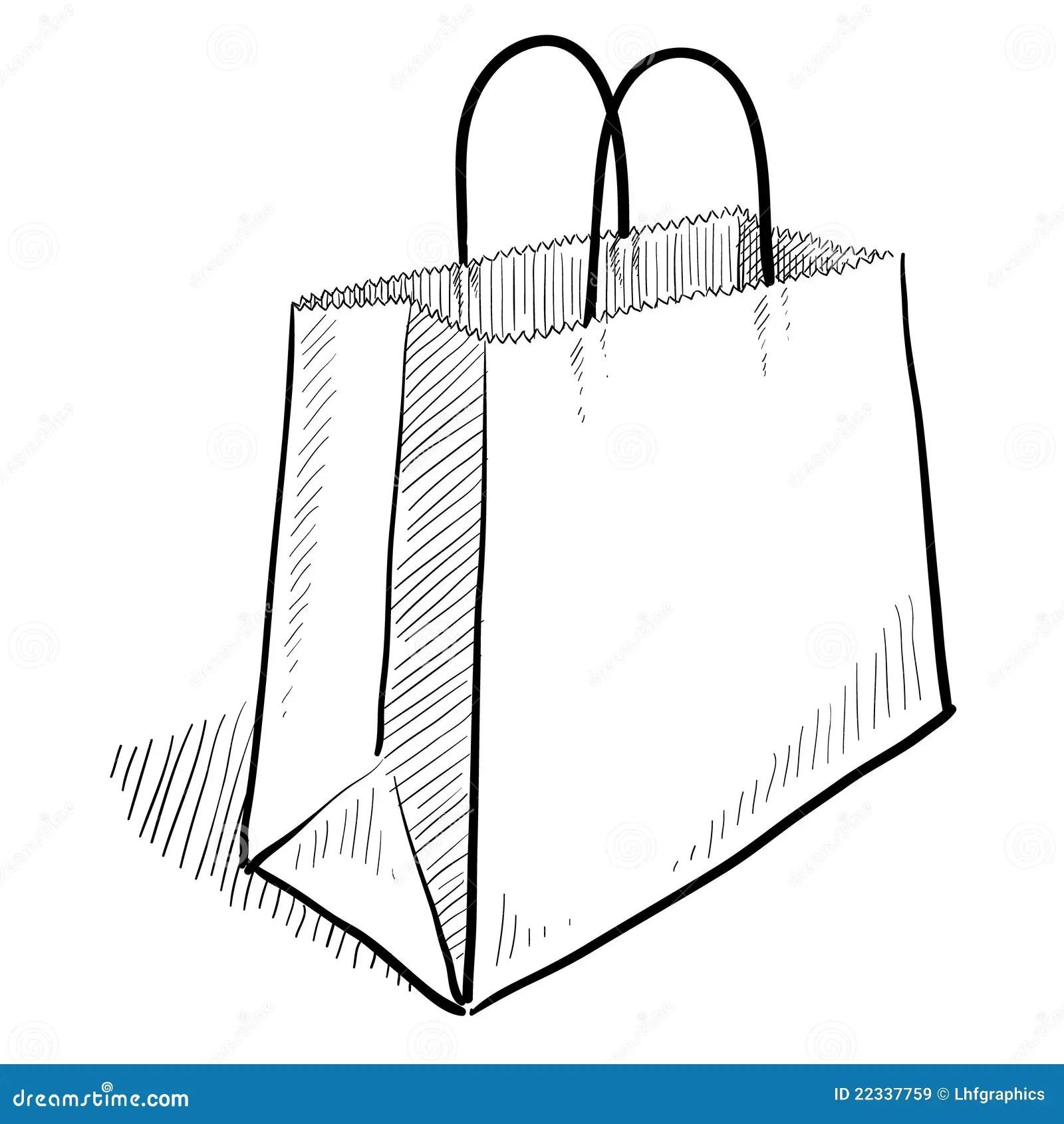 Shopping Bag Sketch Stock Vector Illustration Of Holiday