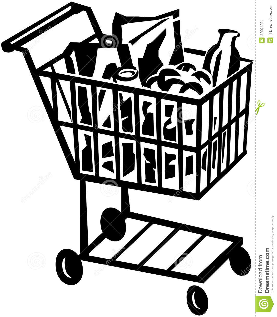 Shopping Cart Stock Vector Illustration Of Grocers