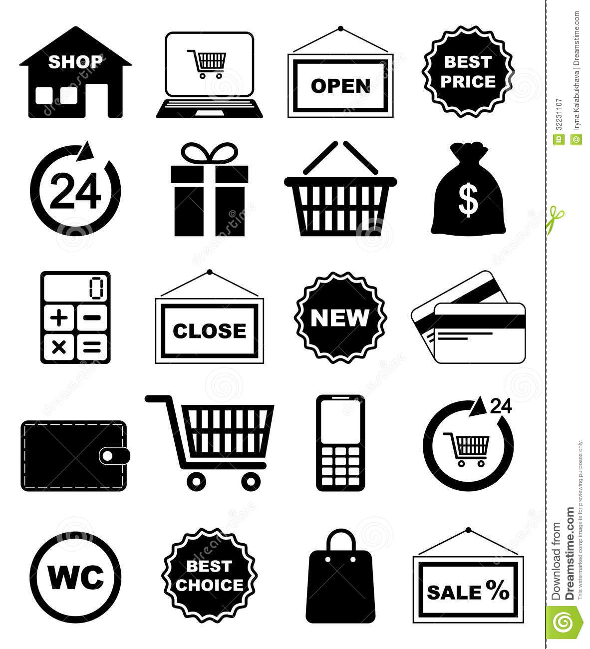Shopping Icons Stock Vector Illustration Of Cart