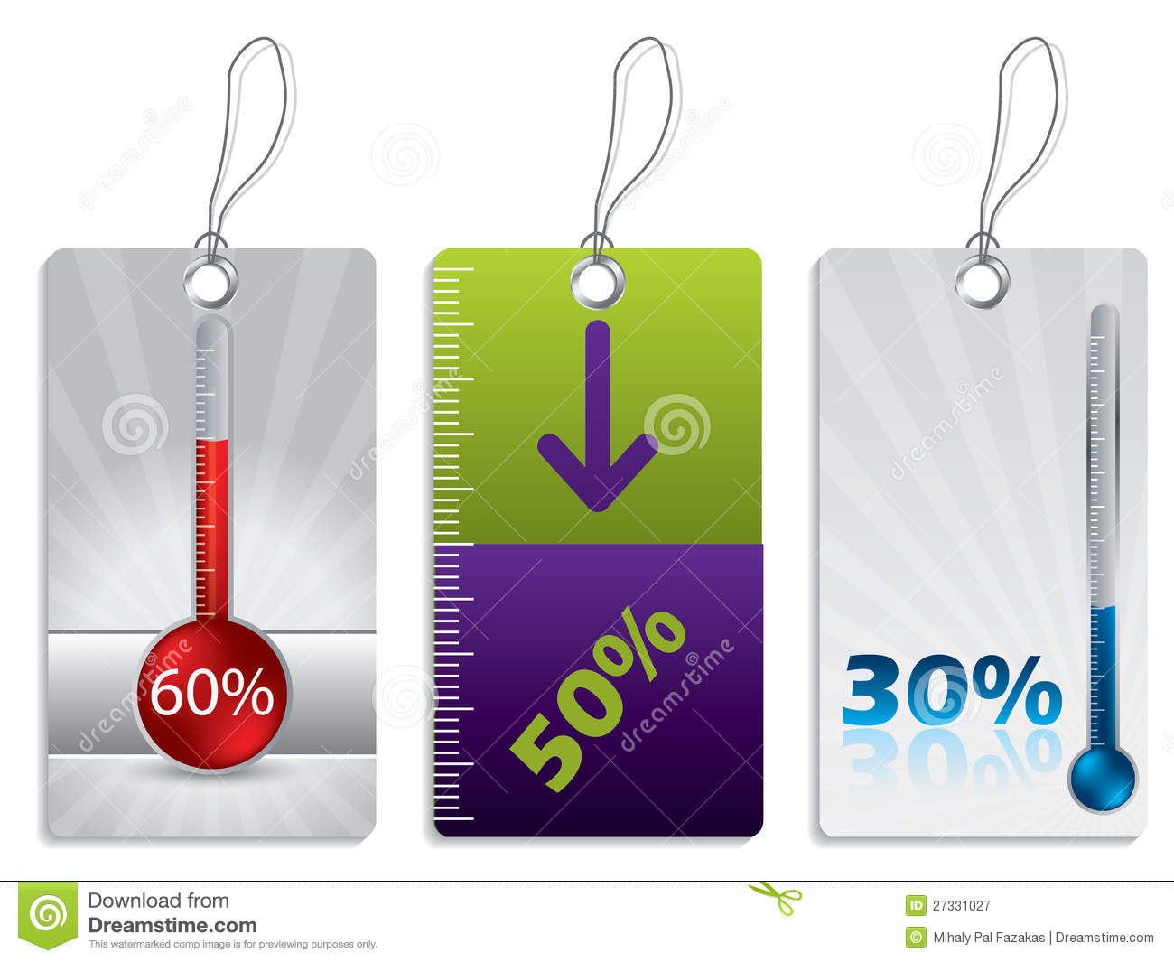 Shopping Label Set With Thermometer Royalty Free Stock