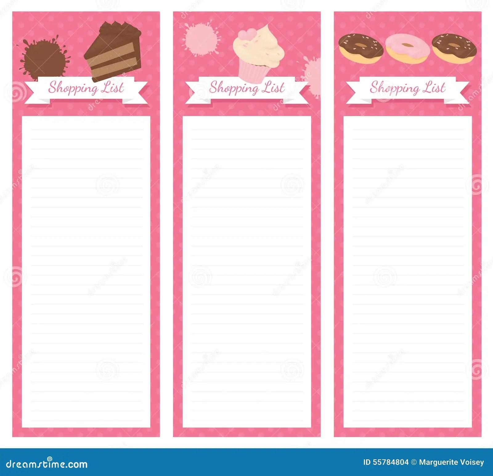 Shopping List Design Cake Stock Illustration Illustration