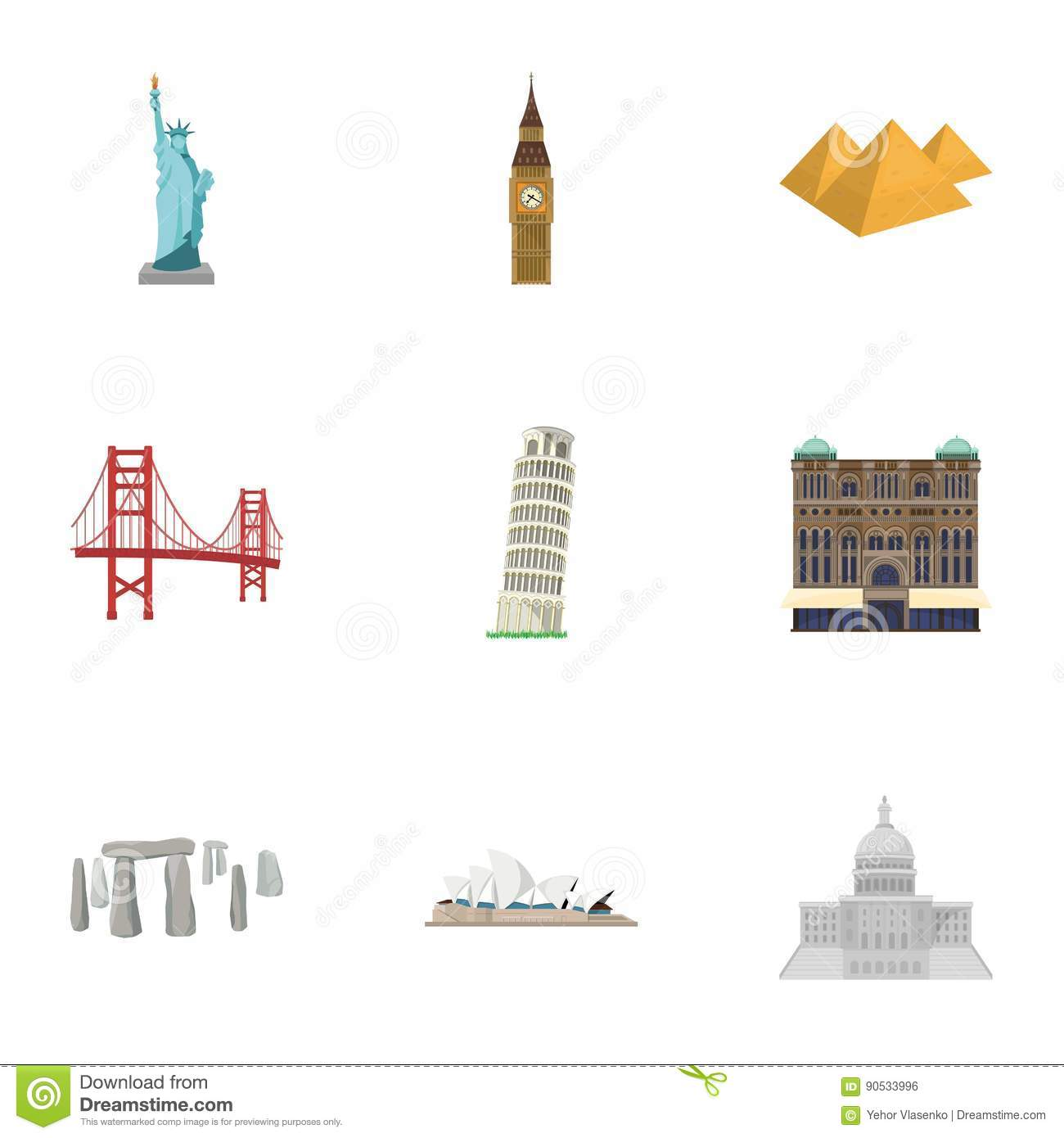 Sights Of The Countries Of The World Famous Buildings And