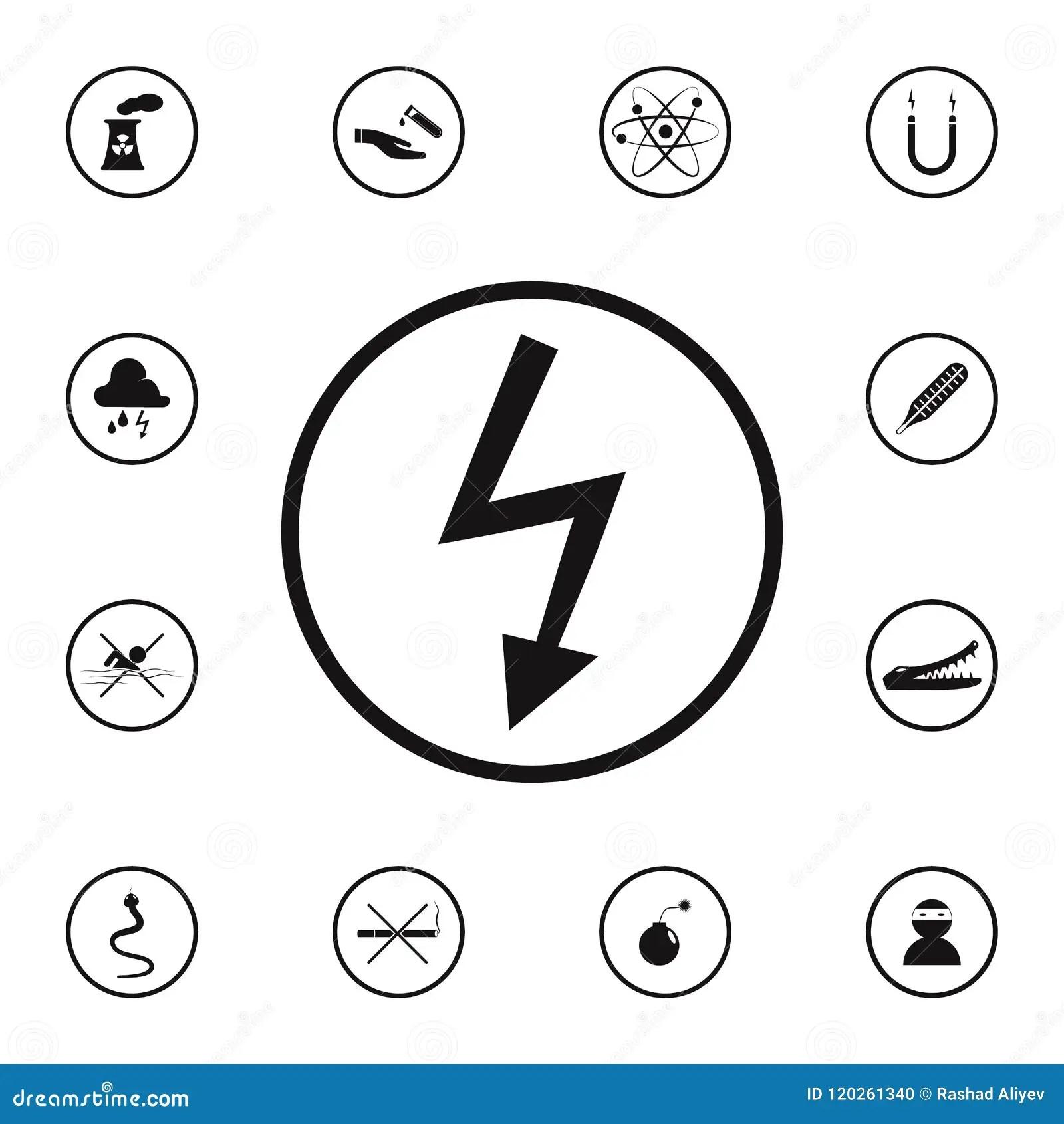 Electricity Icon Set Cartoon Vector