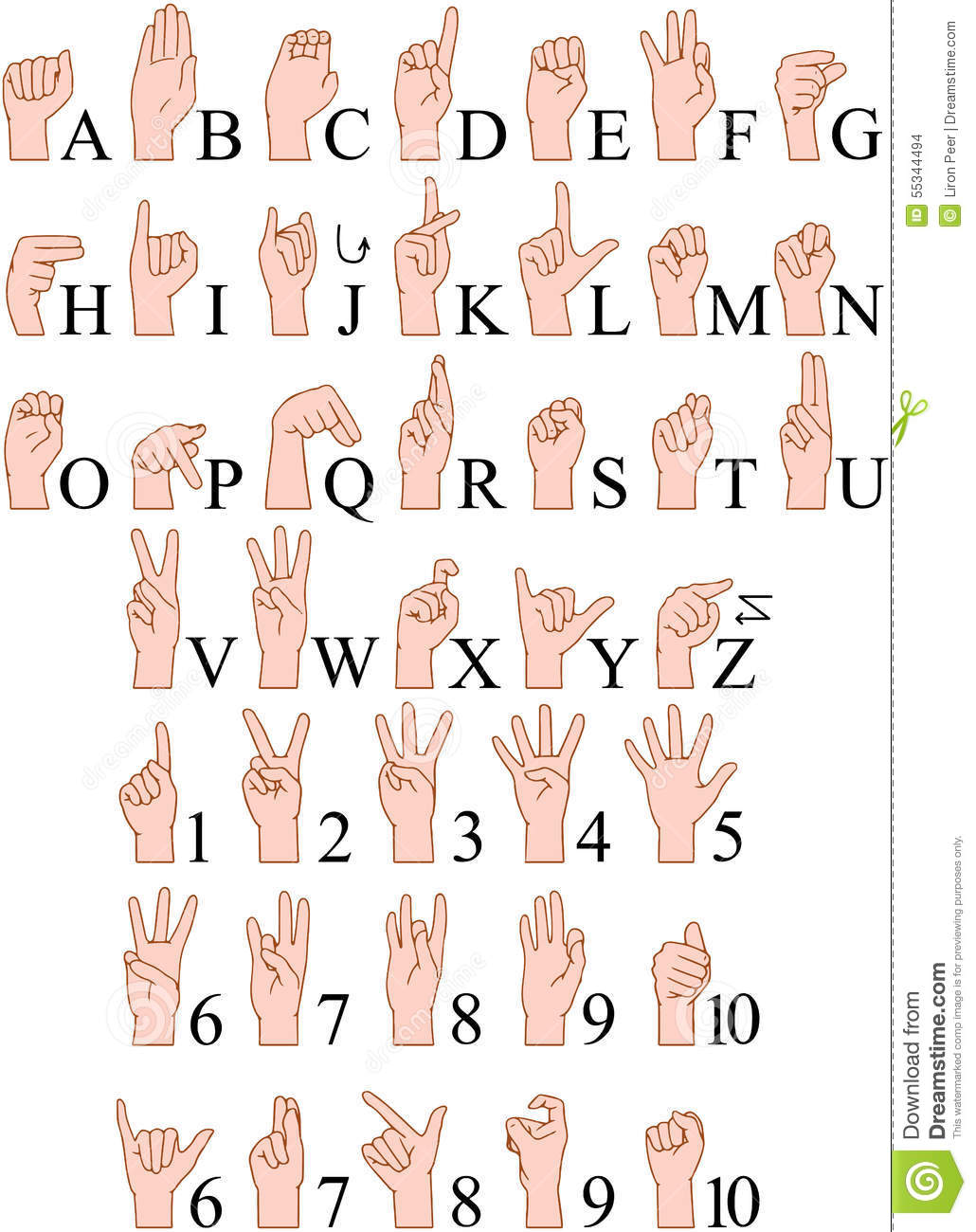 Sign Language A To Z Numbers Hands Pack Stock Vector