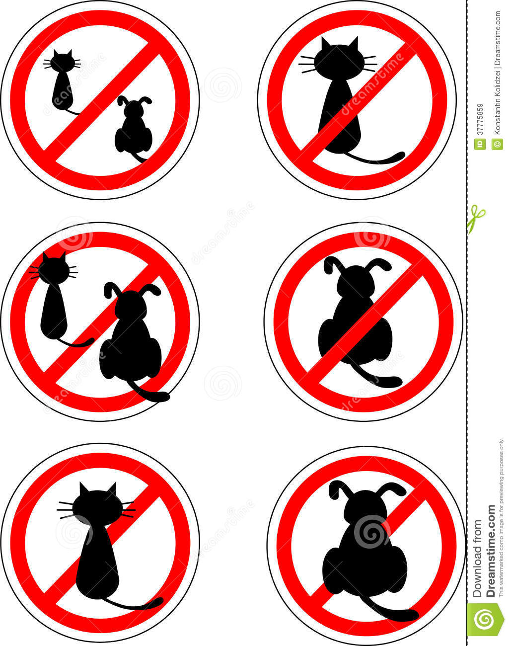 Sign No Cats And Dog Stock Vector Illustration Of Cartoon