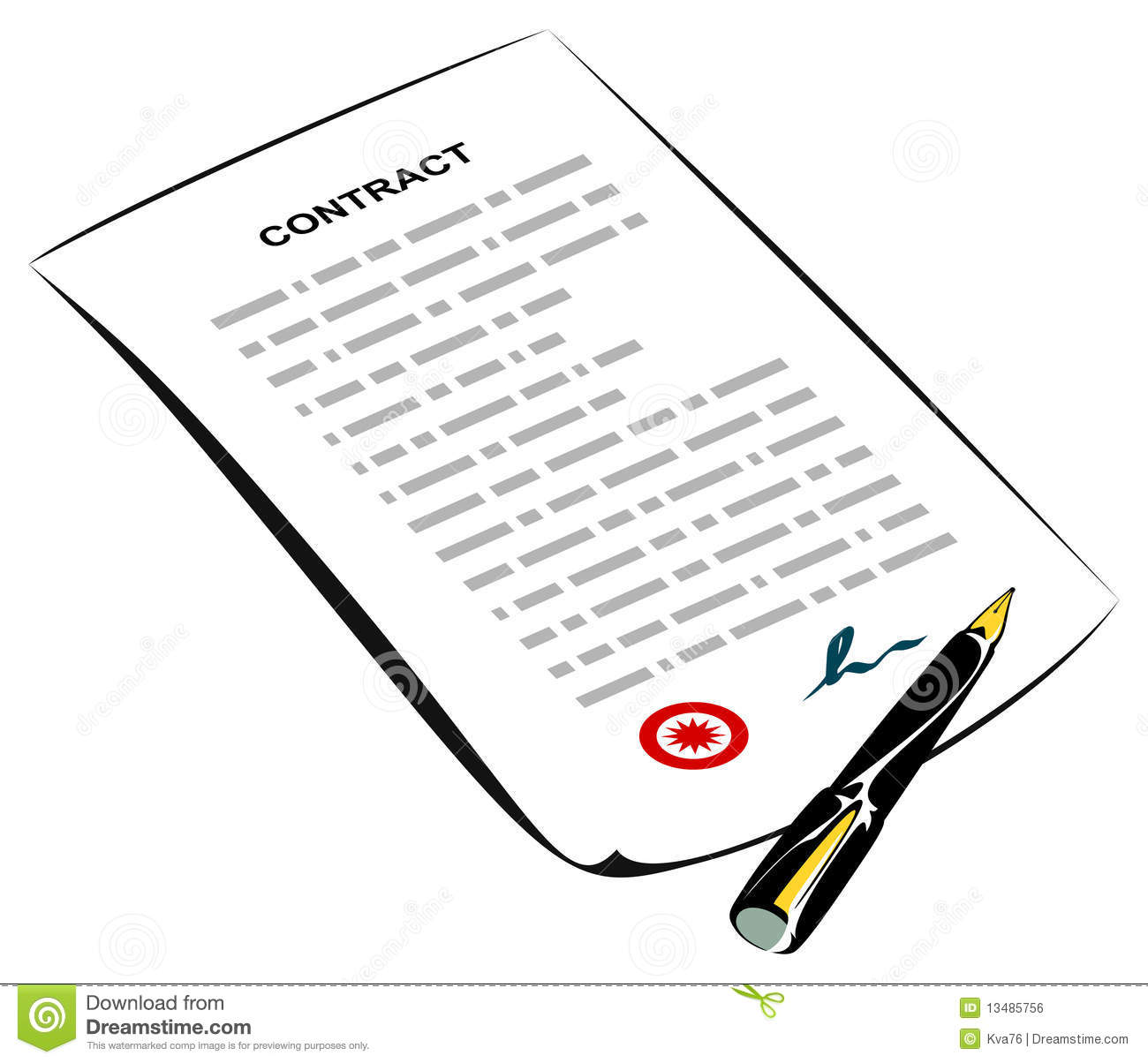 Signed Contract Stock Vector Illustration Of Text