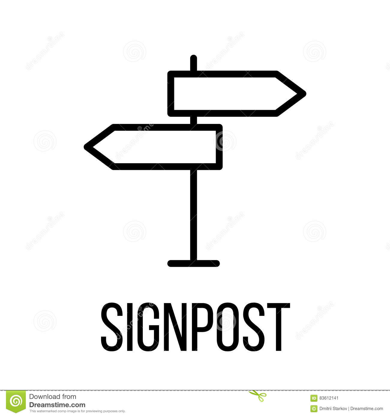 Signpost Icon Or Logo In Modern Line Style Stock Vector