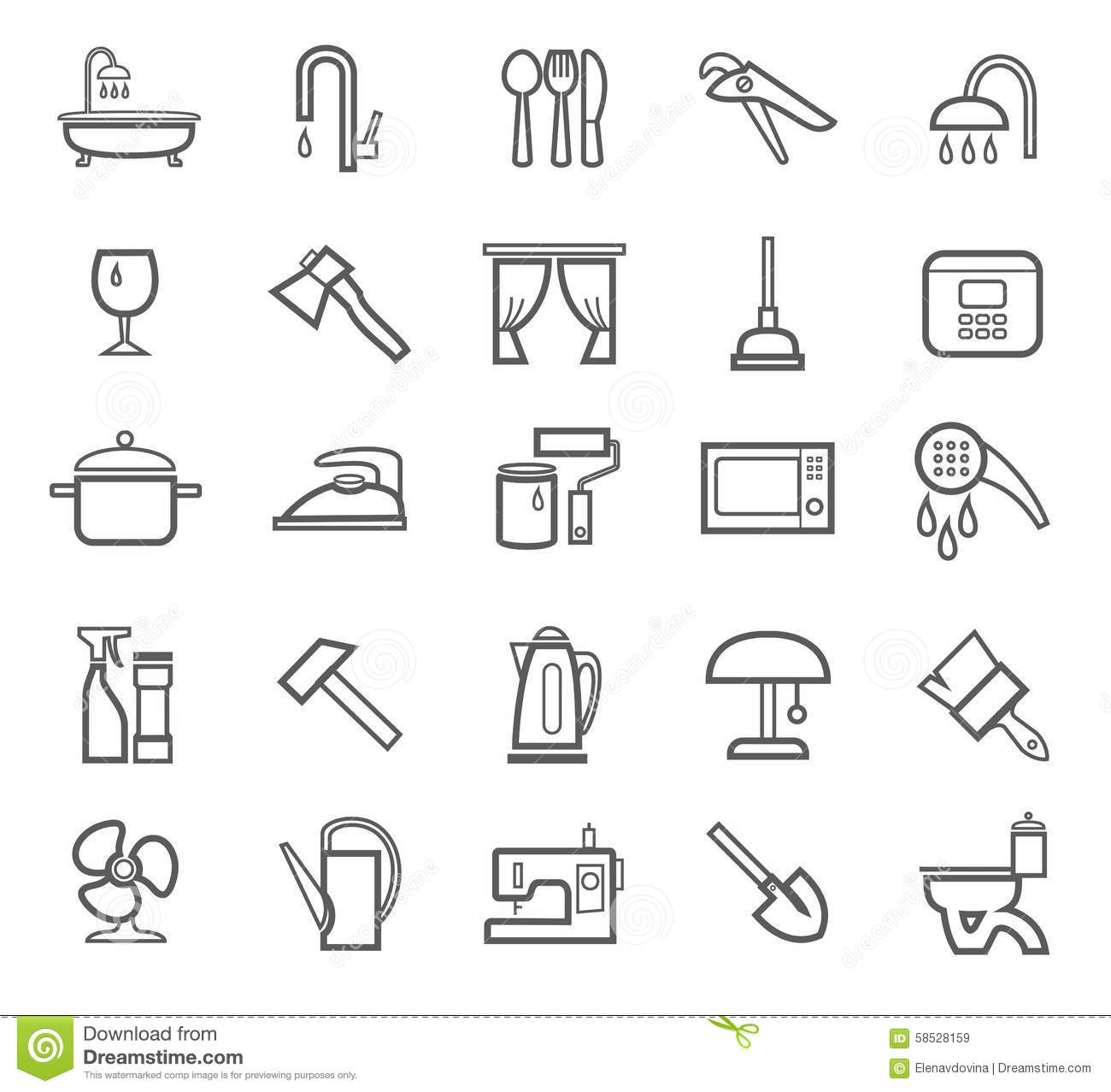 Signs Household Goods Appliances Dishes Tools Grey