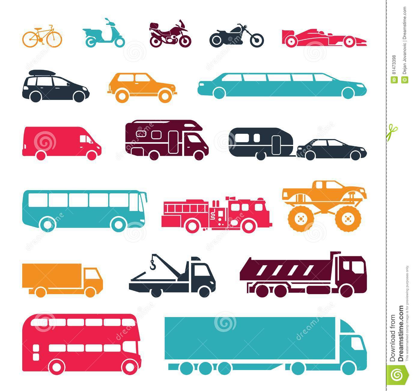 Signs Presenting Different Means Of Transportation Stock