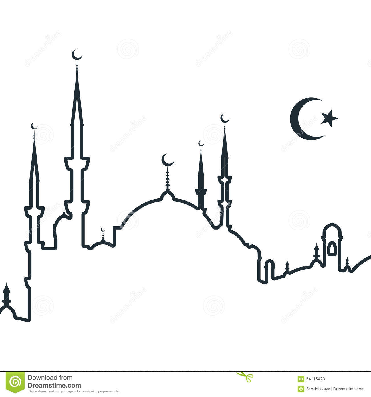 Silhouette Of Arabic City With Mosque Stock Vector