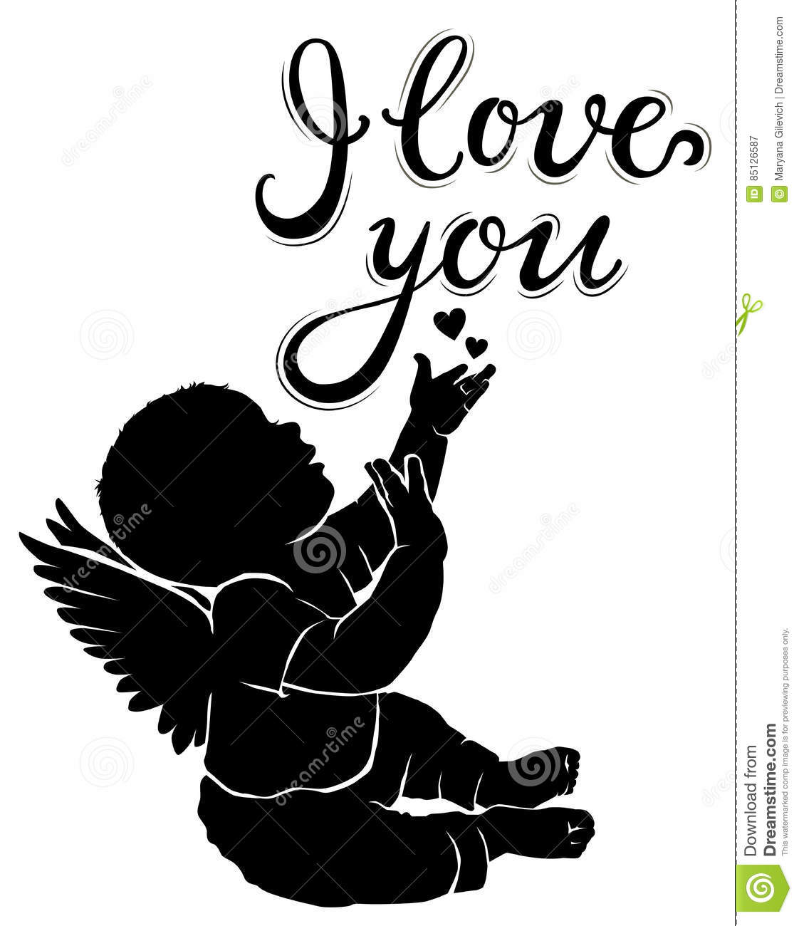 Download Silhouette Baby Angel With Text I Love You Stock Vector ...