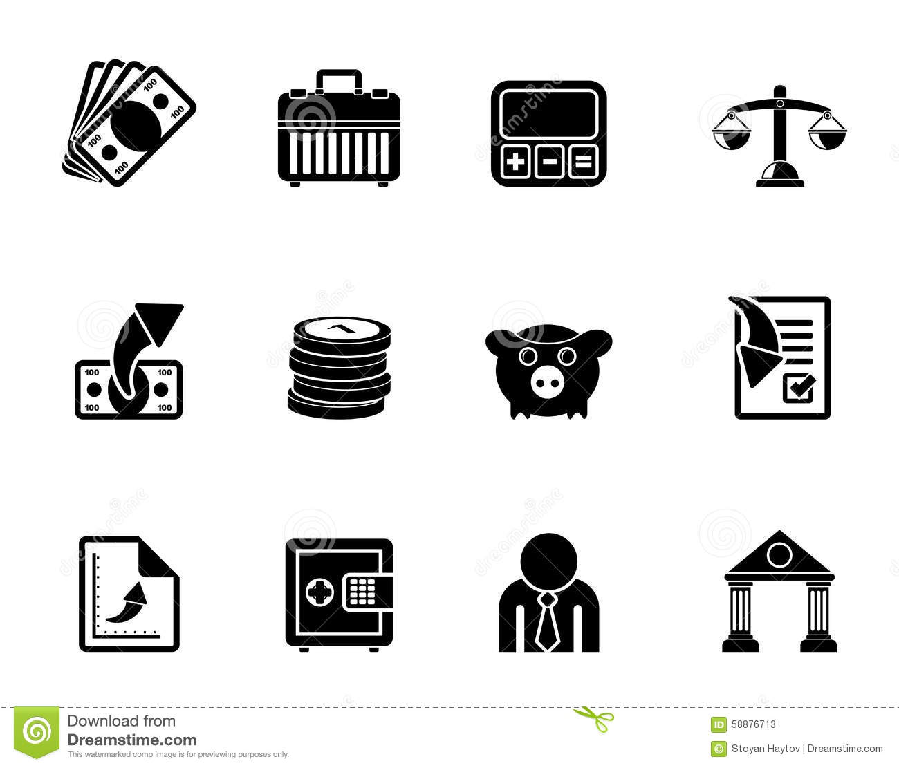 Silhouette Bank Business And Finance Icons Stock Vector