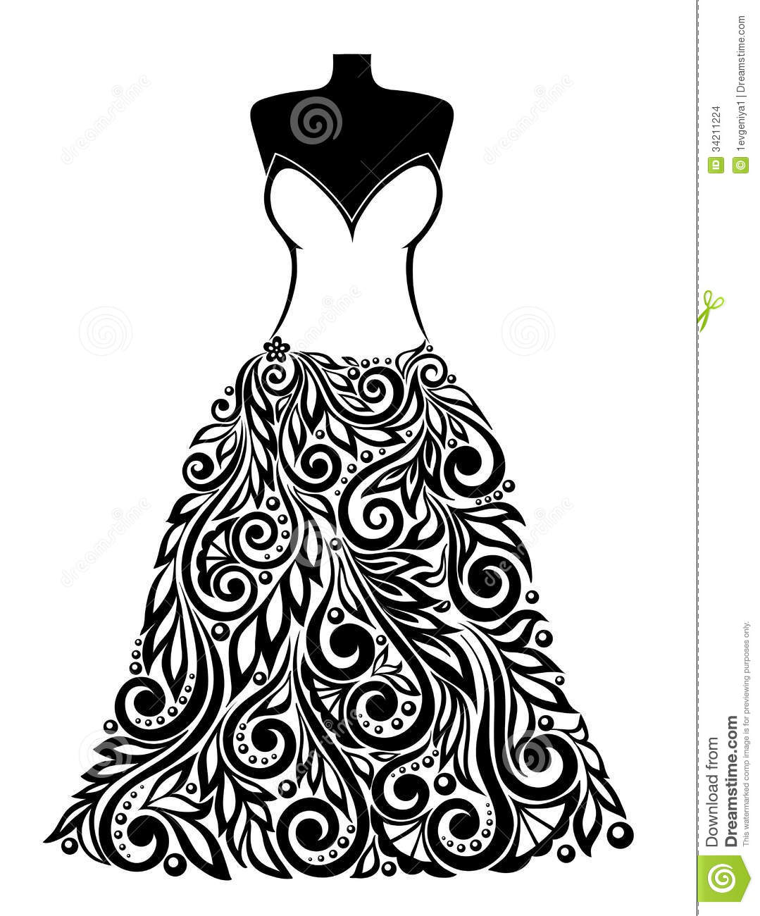 Silhouette Of A Beautiful Dress With A Floral Elem Stock
