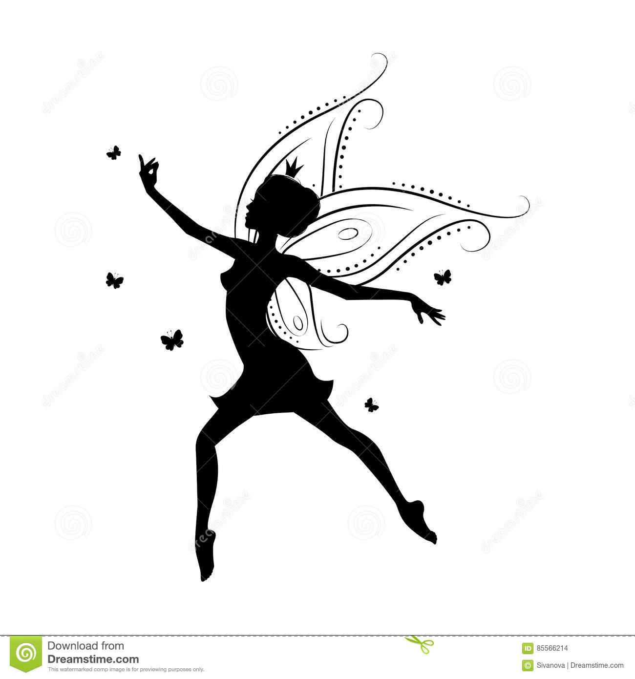 Silhouette Of Beautiful Fairy Stock Vector