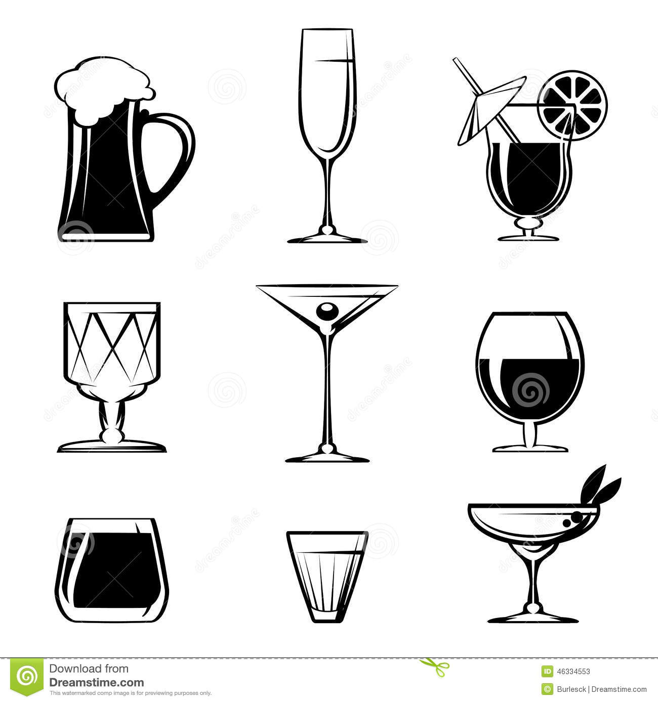 Silhouette Beverage Glass Icons On White Stock Vector
